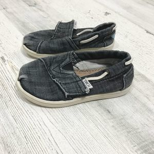 Toms Distressed Slip-On Gray Toddler Sneaker